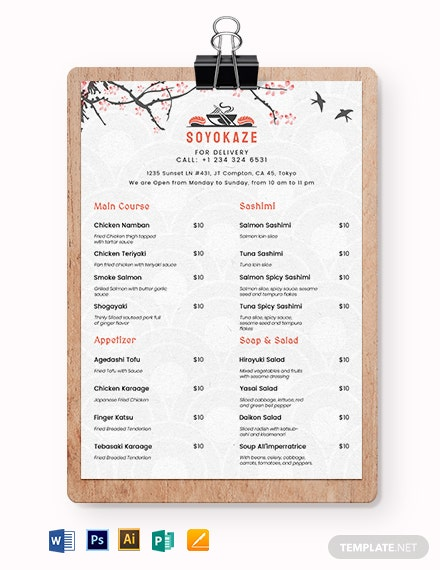 Japanese Restaurant Takeaway Menu Template