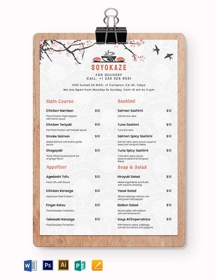 japanese restaurant takeaway menu template1x