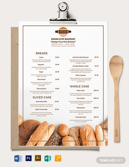 Pastry Bakery Menu Template