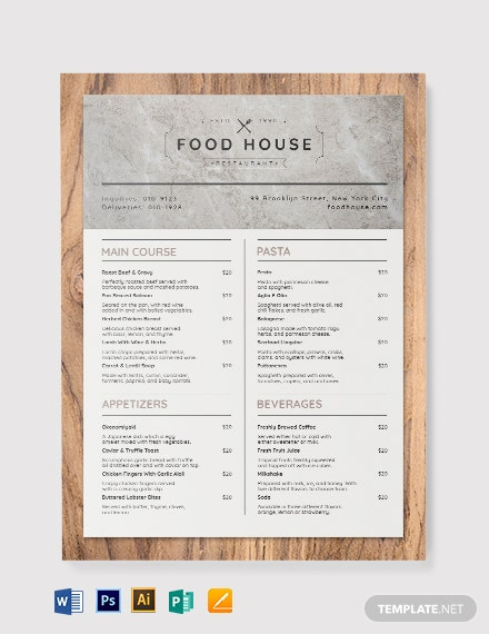 Printable Takeaway Menu Template