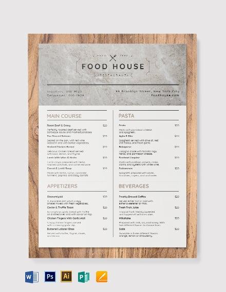 printable takeaway menu template 1x