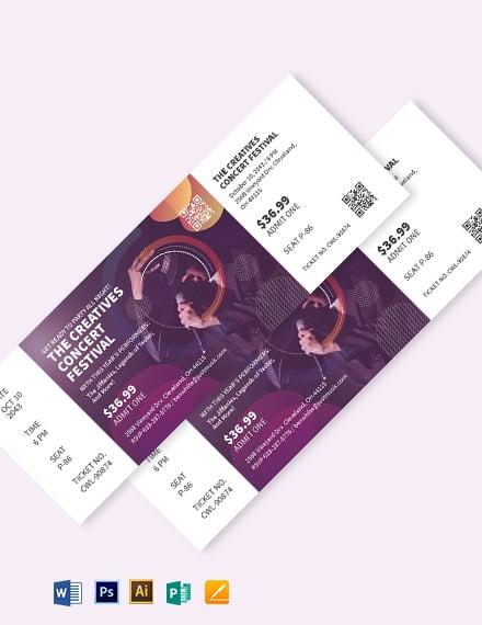 creative concert ticket template x1