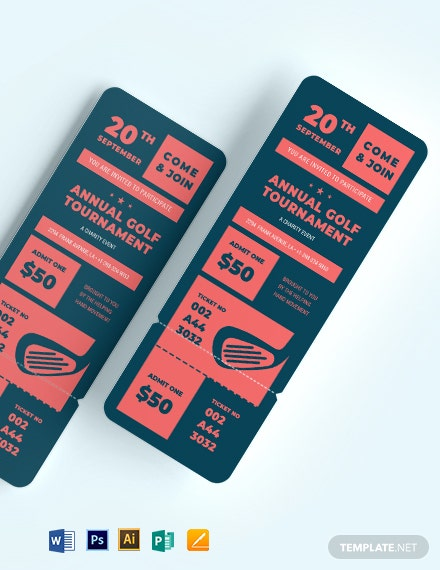 charity golf tournament ticket template 1x