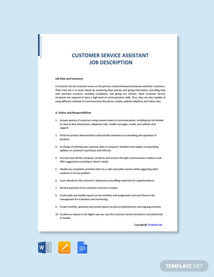 Free Customer Service Assistant Job Description Template
