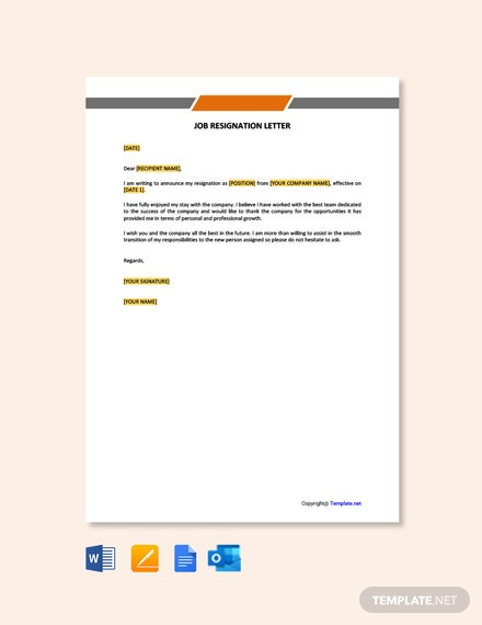 Free Job Resignation Letter Template