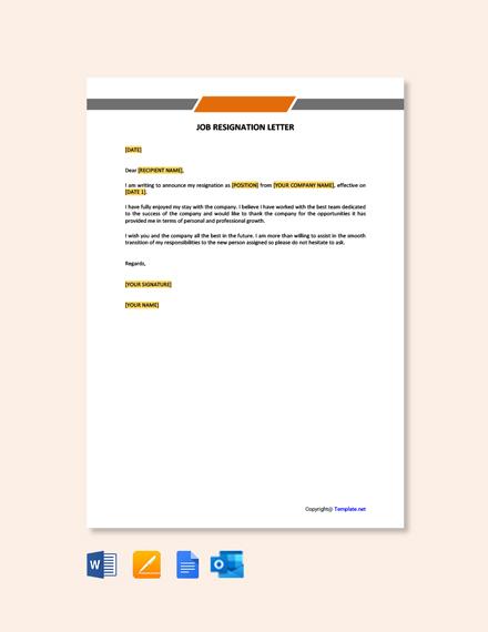 Free Job Resignation Letter Template