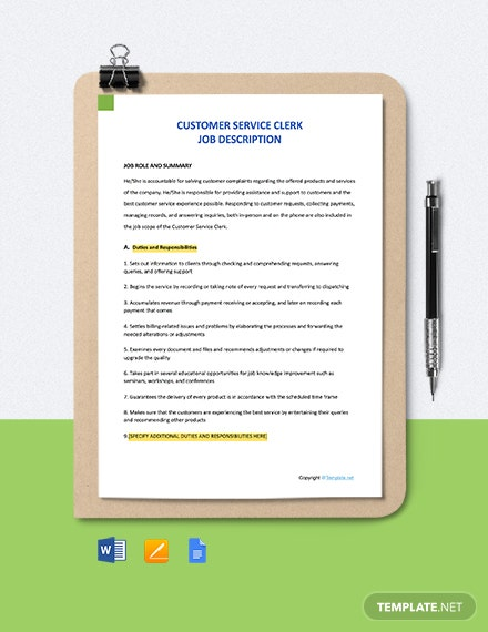 Free Customer Service Clerk Job Description Template