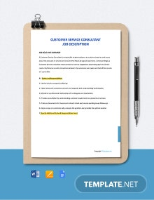 Free Customer Service Consultant Job Description Template