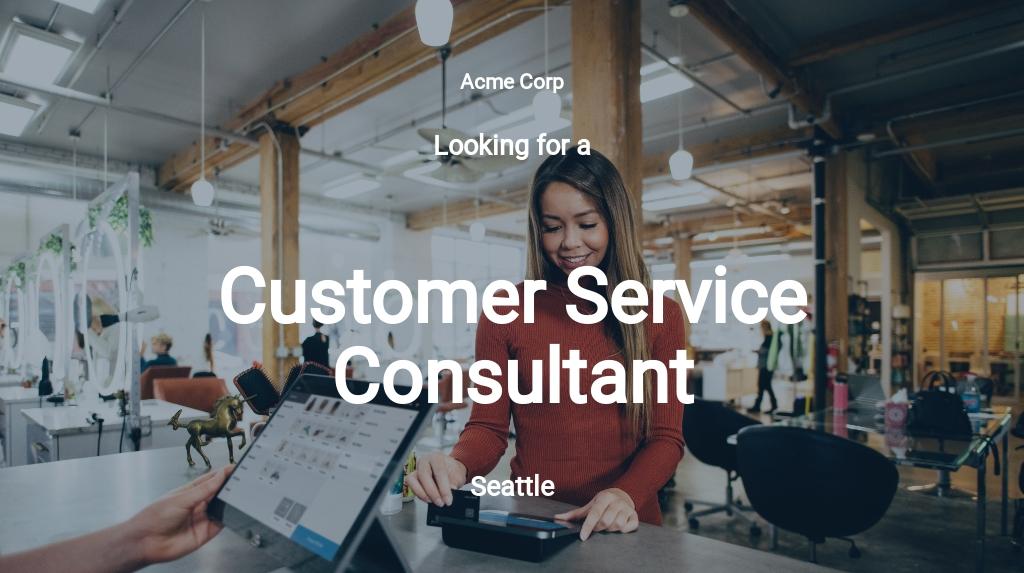 Customer Service Consultant Job Description Template