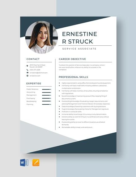 Service Associate Resume Template