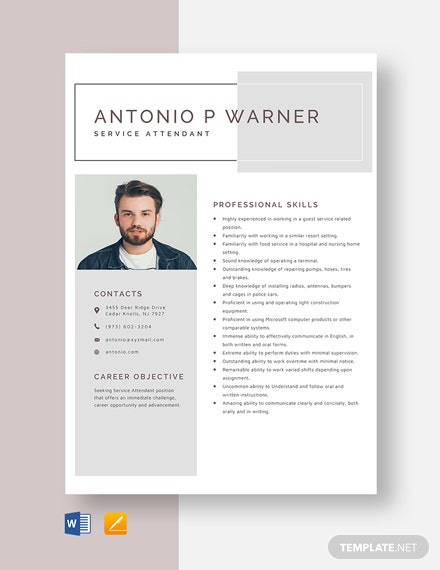 Service Attendant Resume Template
