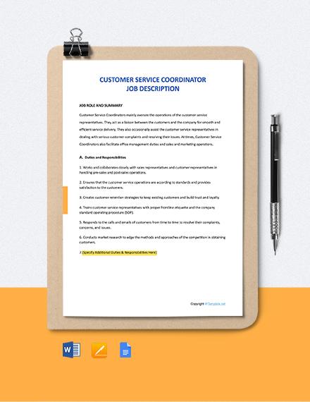 Free Customer Service Coordinator Job Description Template