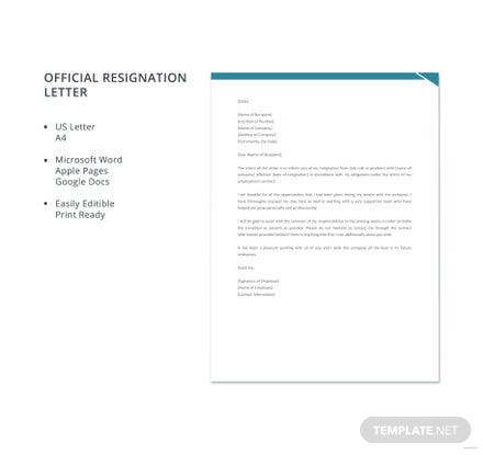 Free Official Resignation Letter
