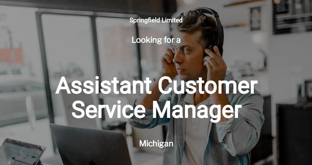 Assistant Customer Service Manager Job Description Template