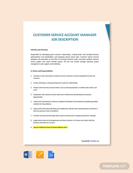 Customer Service Account Manager Job Description