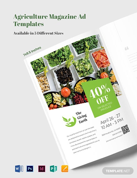 Free Agriculture Magazine Ads Template