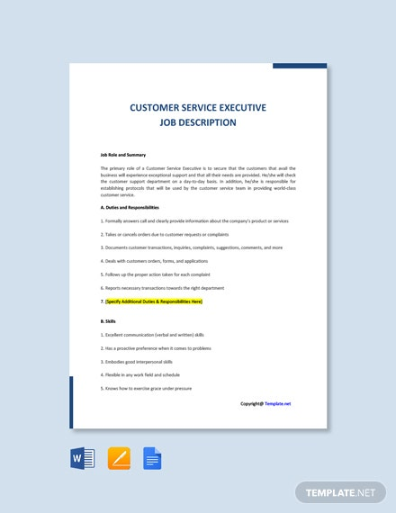 Free Customer Service Executive Job Description Template