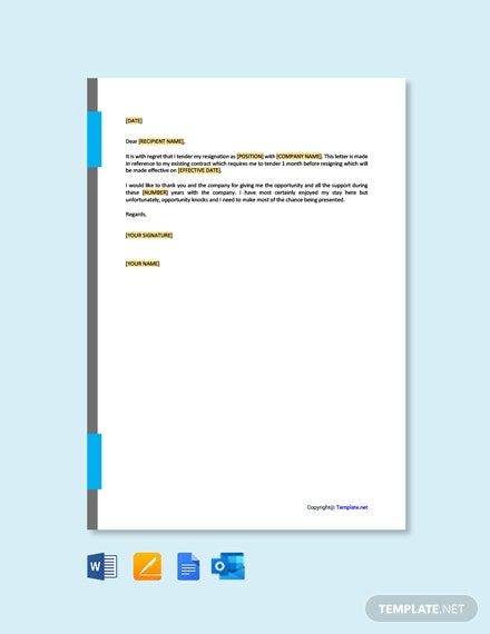 Free Resignation Letter for Private Company Template