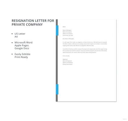 Resignation Letter for Private Company Template