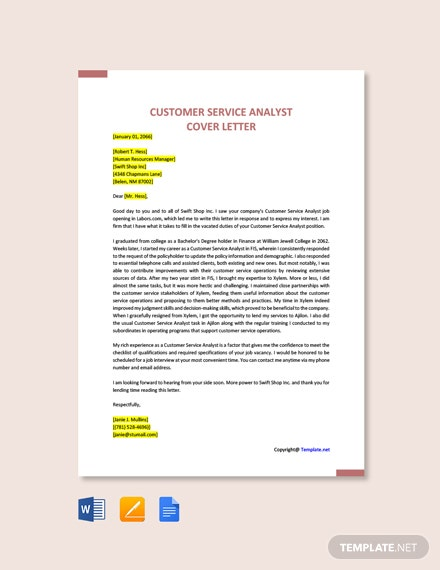 Free Customer Service Analyst Cover Letter Template