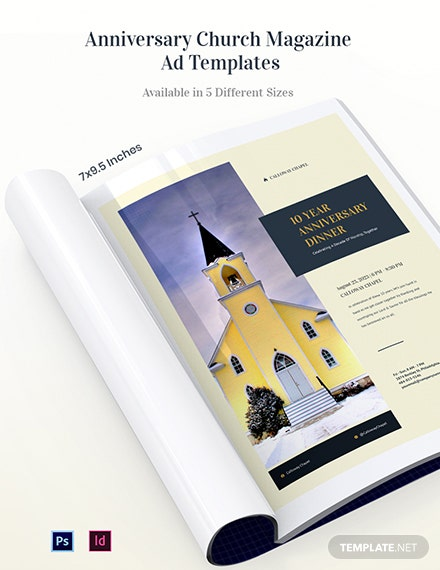 Free Anniversary Church Magazine Ads Template