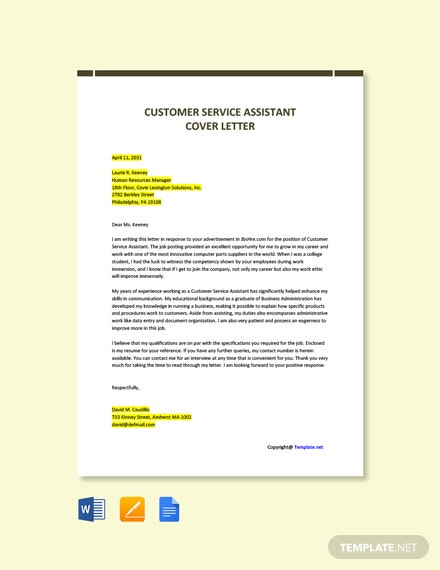 Free Customer Service Assistant Cover Letter Template