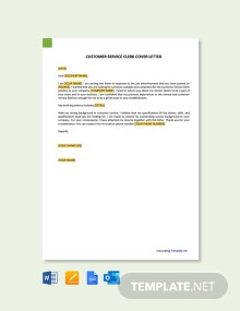 Free Customer Service Clerk Cover Letter Template