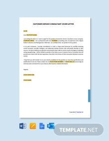 Free Customer Service Consultant Cover Letter Template