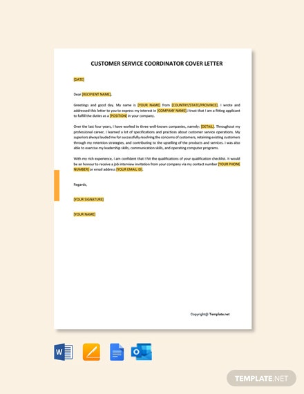 Free Customer Service Coordinator Cover Letter Template