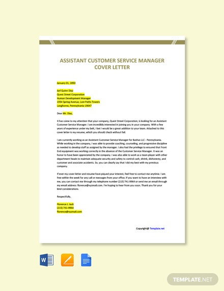 Free Assistant Customer Service Manager Cover Letter Template
