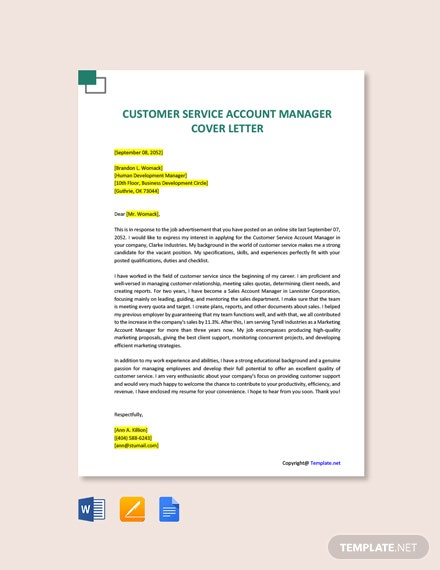 Free Customer Service Account Manager Cover Letter Template