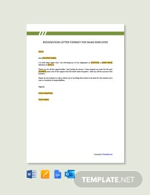 Free Resignation Letter Format for Bank Employee