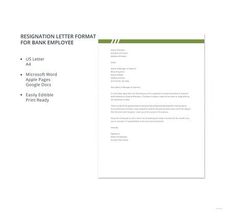 Resignation letter format for bank employee template download 700 resignation letter format for bank employee template download 700 letters in word pages google docs template spiritdancerdesigns Gallery