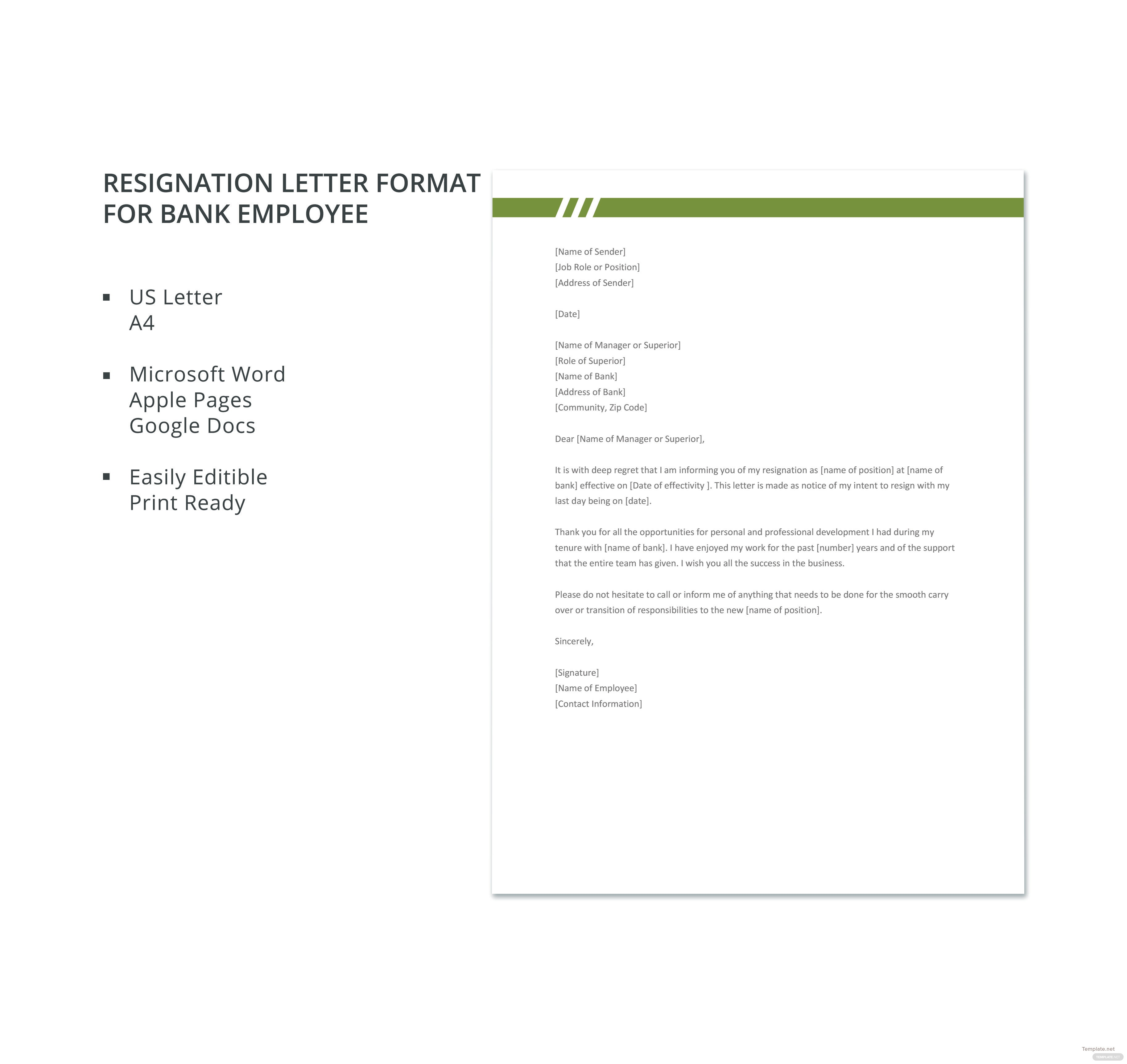 Resignation-Letter-Format-for-Bank-Employee Mac Resignation Letter Template on free printable company, 2 week notice, for school aide,