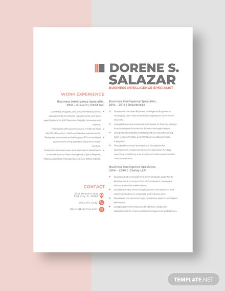 Business Intelligence Specialist Resume Template