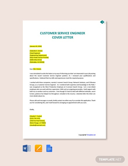 Free Customer Service Engineer Cover Letter Template