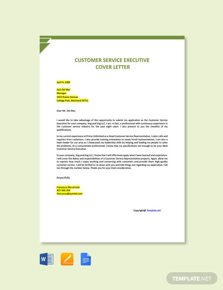 Free Customer Service Executive Cover Letter Template