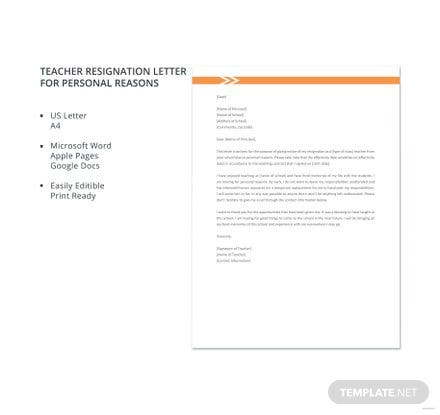 Free Teacher Resignation Letter for Personal Reasons Template