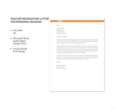 Teacher Resignation Letter for Personal Reasons Template