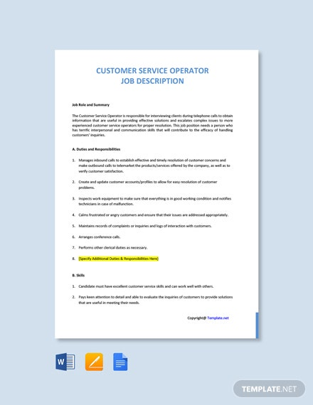 Free Customer Service Operator Job Description Template