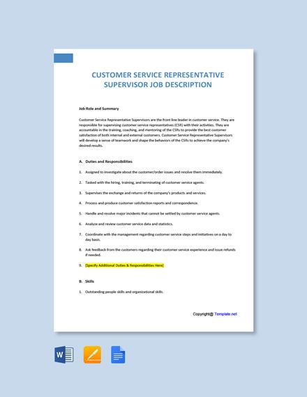 Free Customer Service Representative Supervisor Job Description Template