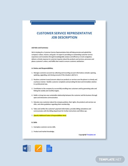 Free Customer Service Representative Job Description Template