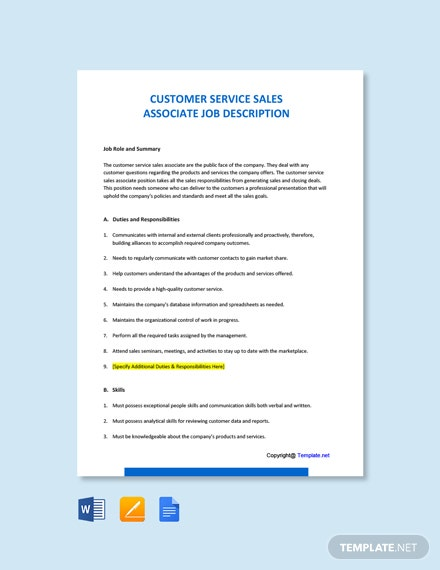 Free Customer Service Sales Associate Job Description Template