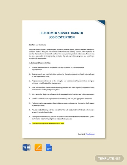 Free Customer Service Trainer Job Description Template