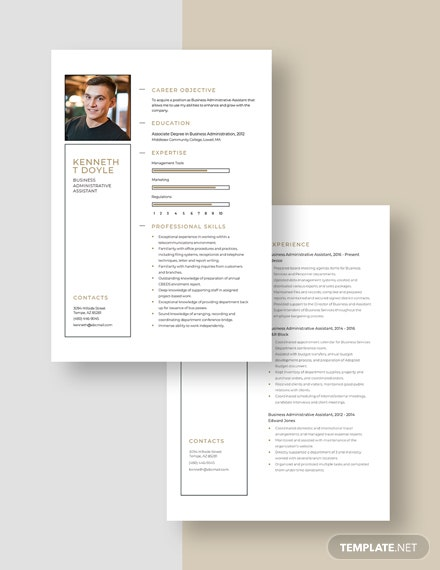 Business Administrative Assistant Resume Download