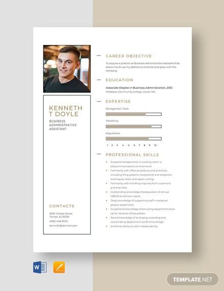 Business Administrative Assistant Resume Template