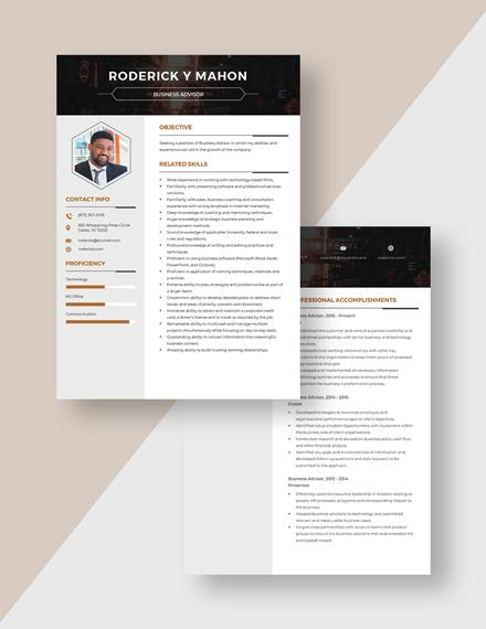 Business Advisor Resume Download