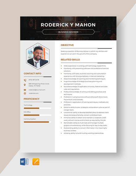 Business Advisor Resume Template