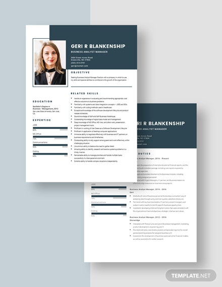 Business Analyst Manager Resume Download