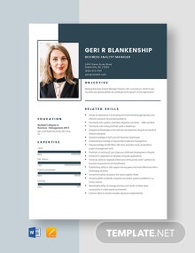 Business Analyst Manager Resume Template